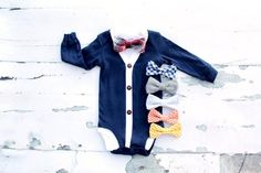 This Listing Includes: 1 Cardigan Bodysuit 1 Baby Bow Tie Bodysuit *************************************** Bodysuit Sizing Chart: Newborn Up to – 8 lb 3 Months and 8 - lb 6 Months – and – lb 9 Months – and – lb 12 Months – Baby Boy Cardigan, Sweater Cardigan, Tie Onesie, Onesies, Baby Boy Fashion, Kids Fashion, Cake Smash Outfit, 1st Birthday Outfits, New Baby Boys