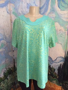 DENIM & CO. PLUS 1X GREEN FLORAL CONTRAST U-NECK COTTON SHORT SLEEVE TUNIC TOP #DenimCo #Tunic #Casual