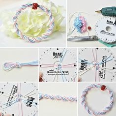 Technique de fabriquer un bracelet kumihimo - Idées créatives de bijoux Bracelets Design, Micro Macrame, Make It Simple, Arts And Crafts, Couture, Personalized Items, How To Make, Diy, Jewelry