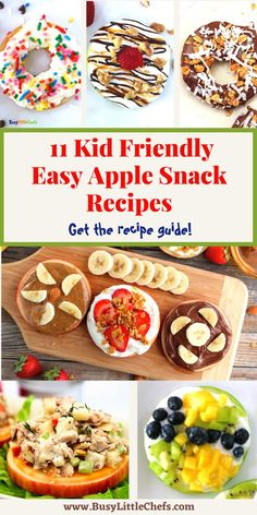 This Easy Apple Snacks Recipe Guide will give you 11 ideas for breakfast, lunch, or snacks. Each apple slice is loaded with a yummy topping, and the kids can make these on their own using their favorite ingredients. These are delicious recipes for after school or summer treat ideas, try these healthy, apple snacks that your kids will love! #apples #applerecipes #fruit #busylittlechefs Healthy School Lunches, Yummy Healthy Snacks, Delicious Fruit, Delicious Recipes, Yummy Food, Easy Baking Recipes, Apple Recipes, Snack Recipes, Apple Snacks