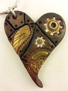 Handmade Polymer Clay Steampunk Heart Pendant by MyMindfulMakings, $12.99