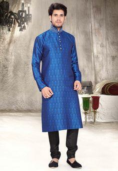 Blue Brocade Art Silk Readymade Kurta with Churidar
