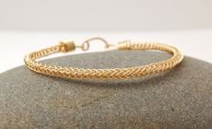 Brass Braided Bangle Bracelet  Gold Colored by MiscellaneaEtcetera, $27.00