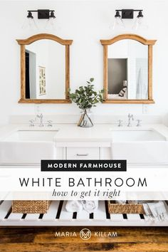 Here's how one reader applied the Maria Killam system to her bathroom renovation. Here's what she did right while working with whites, and a closer before and after look at her modern farmhouse white bathroom. Timeless Bathroom, Modern Master Bathroom, White Bathrooms, Classic Bathroom, Beautiful Bathrooms, White Farmhouse Exterior, French Farmhouse Decor, Modern Farmhouse, Black And White Interior