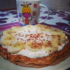 Saudável como um pêro... sem desespero!: Panquecas de grão-de-bico com banana, queijo quark e canela (sem glúten)