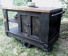 Distressed And Stained Wood Portable Kitchen Island