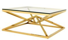 Casa Padrino Luxus Art Deco Designer Couchtisch Edelstahl Gold mit Glas 100 x 100 cm - Luxus Kollektion - Beistelltisch Hotel Möbel Couchtische