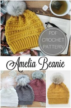 I love the gorgeous mustard yellow in this crocheted winter hat pattern! Those fur pompoms are gorgeous, too! I can't wait to make one of these toques! #crochet #pattern #hat #winterhat #toque #beanie #crafts #yarn #craftevangelist #crochetpattern