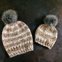 Mommy and Me Beanies in Fossil with Grey Faux Fur Pom Poms  Instagram-@smallbranchdesigns  Facebook- SmallBranch Knit Designs