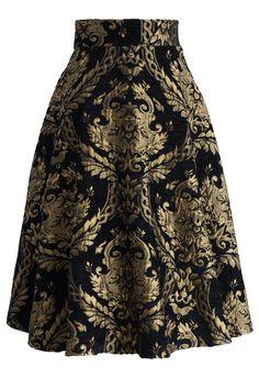 Golden Bouquet Jacquard Midi Skirt - Retro, Indie and Unique Fashion