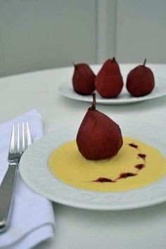 Poached Pears with Creme Anglaise  from our town's newspaper (sister site)