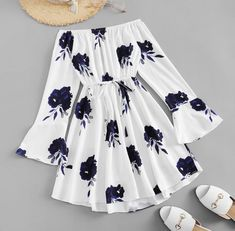 Shop Floral Print Flounce Sleeve Self Knot Dress online. SheIn offers Floral Print Flounce Sleeve Self Knot Dress & more to fit your fashionable needs. Girls Fashion Clothes, Teen Fashion Outfits, Mode Outfits, Girl Outfits, Dress Fashion, Swag Outfits, Chic Outfits, Cute Summer Outfits, Cute Casual Outfits