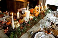 THANKSGIVING CENTERPIECES | Pin it Like Image Fall Table Settings, Thanksgiving Table Settings, Thanksgiving Centerpieces, Holiday Tables, Rustic Thanksgiving, Thanksgiving Countdown, Thanksgiving Dinners, Thanksgiving Flowers, Setting Table