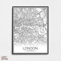London map wall art Londom map print London poster London