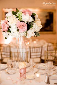 Pink blush white roses center piece design