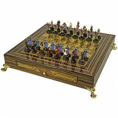 Дорогие подарочные шахматы с фигурками армии Наполеона, Credan