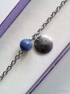 nerezová náramek s sodalitem a destičkou pro rytinu - lze vyrýt jakékoliv písmenko Heart Charm, Charmed, Bracelets, Jewelry, Jewlery, Jewerly, Schmuck, Jewels, Jewelery