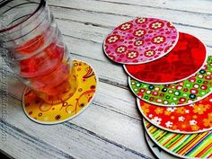 Coasters from old CDs #upcycle