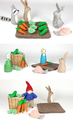Little Felt Garden for Play Sets, Peg People and Bendy Dolls