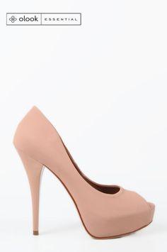 Peep toe Nobuck Alto Olook Rosê - Roupas e Sapatos Femininos | Olook