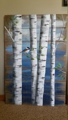Pallet white birch wall decor Portray, four Piece set, 9' extensive complete, Hand Painted Darkish Blue, reclaimed wooden, chickadee,upcycled rustic shabby
