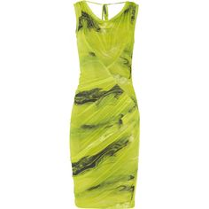 Vera Wang Printed stretch satin-jersey dress ($780) ❤ liked on Polyvore