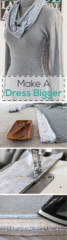 How to add extra fabric panels )the right way) to a dress that may be too tight. Simple step by step tutorial with pictures on the site! http://www.ehow.com/how_8612925_make-dress-bigger.html?utm_source=pinterest.com&utm_medium=referral&utm_content=inline&utm_campaign=fanpage&crlt.pid=camp.SFqXurLxQsvc