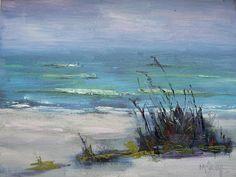 Seascape Artists International: beach, canvas board, Carol Schiff, daily painter, daily painting, Florida, impressionism, landscape, ocean, oil painting, original painting, Sanibel, sea, sea oats, shore,