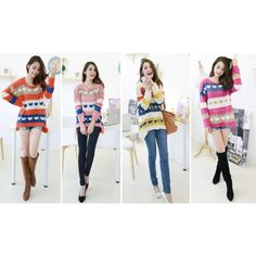 Multicolour Open-Knit Loose Asian Fashion Sweater