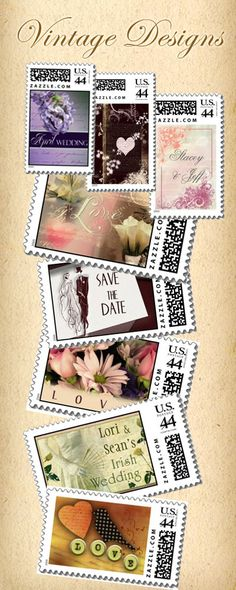 vintage wedding stamp designs  Repinned by Annie @ www.perfectpostage.com