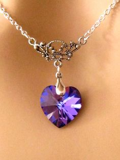 Purple Heart Necklace Crystal Bridesmaids by martywhitedesigns
