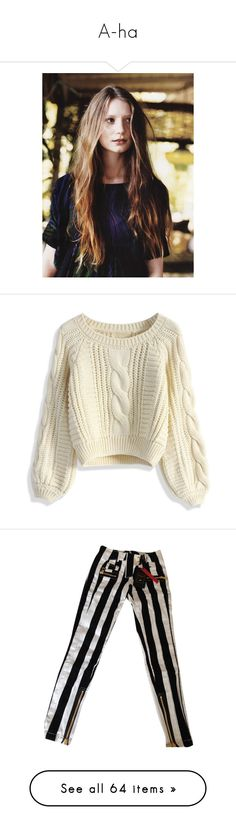"""A-ha"" by norbertheartselmo ❤ liked on Polyvore featuring people, models, actresses, girls, tops, sweaters, shirts, jumpers, beige and cable knit sweater"
