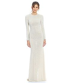 Terani Couture Beaded Stud Long Gown #Dillards