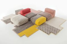Mangas Space, a series of modular seating pieces and rugs that can be mixed up in a multitude of arrangements. By Patricia Urquiola for Gandia Blasco
