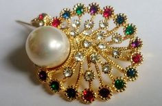 Vintage Peacock Brooch Gold Plated Coloured Crystal by BrownJewels