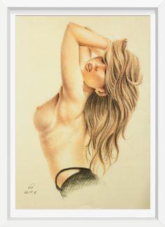 originale akt zeichnung A3 24MS nude drawing erotik kunst art frauenakt pastell