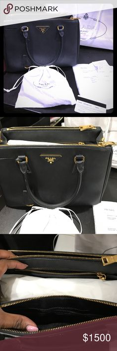 Authentic Prada Saffiano Lux Nero Double Zip Tote Includes receipt and dust bag. 100% authentic. Purchased in October 2015. Worn a handful of times... in excellent condition. $1200 PP. This same bag has gone up in price and now sells for $2330 + tax in stores!!!! This is an amazing deal! Prada Bags