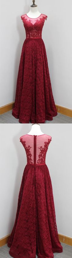 Burgundy Lace Handmade Prom Dress,Long Prom Dresses,Prom Dresses,Evening Dress, Prom Gowns, Formal Women Dress,prom dress