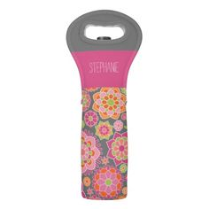 Name with single pink flower wine tote,wine love,Bachelorette,Housewarming,Wine Tasting,Bridal Shower,Wine Bag Monogrammed,Custom