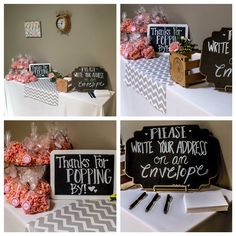 DIY baby shower, chalkboard signs, grey chevron, pink popcorn party favors
