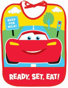 Vibrant, bright colors make the Disney Cars 1st Birthday Champ Baby Bib a party showstopper! Lightning McQueen is front and center on this fun bib. The bib is constructed of vinyl, so it is easy to wipe clean after little hands get a hold of birthday cake and frosting! A pocket opening on the front of the bib catches food and crumbs. Red edging is sewn around the outer edge and neckline of the bib, as well as across the front of the pocket opening which reads, �Ready, Set, Eat!� The Disne…