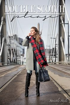 houndstooth over the knee boots tartan street style