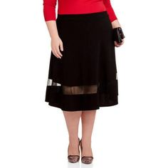 Glamour and Co. Women's Plus-Size Scuba Midi Skirt with Mesh Bottom Insert