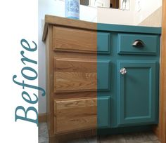 D I Painted My Daughters Bathroom Vanity In Heritage Collection All One Paint Color Amalfi A Beautiful Deep Turquoise