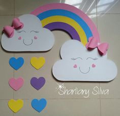 Rainbow panel rain of love ! Kids Crafts, Preschool Crafts, Diy And Crafts, Arts And Crafts, Paper Crafts, Rainbow Theme, Rainbow Birthday, Diy Birthday, Class Decoration