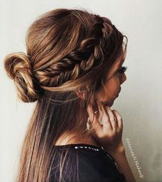 Love this mix of braid and half-bun