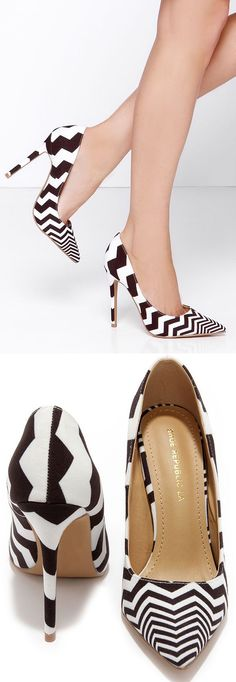 Black and White Striped Pointed Pumps