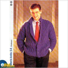 Gents / mans sweater / jacket Mohair knitting pattern Mens patterns 54 on eBid United Kingdom