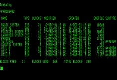 """ProDos en una Apple IIc Ejecutando el comando """"catalog"""" equivalente a ls (unix) o a dir (DOS)"""