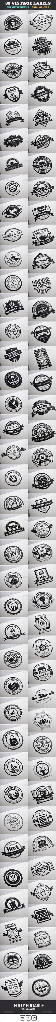 80 Vintage Labels & Badges Logos Bundle Template | Buy and Download: http://graphicriver.net/item/80-vintage-labels-badges-logos-bundle/7553006?WT.ac=category_thumb&WT.z_author=designdistrictmx&ref=ksioks